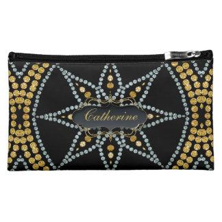 Sacs noirs de cosmétique de scintillement d'or pochette à maquillage