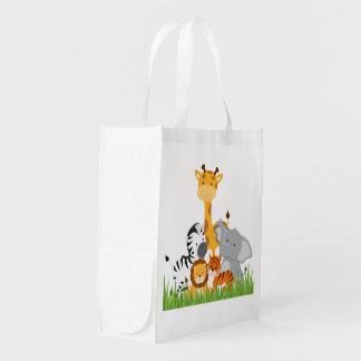 Sacs réutilisables de jungle d'animaux mignons de sac d'épicerie
