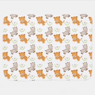 Safari | doux décoré d'un monogramme couvertures pour bébé