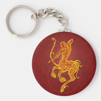 Sagittaire tribal rouge d'or complexe porte-clé rond