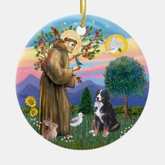 Saint Francis - chien de montagne de Bernese Ornement Rond En Céramique