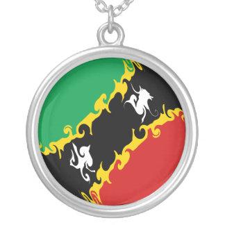 Saint Kitts et drapeau Gnarly du Niévès Pendentif Personnalisé