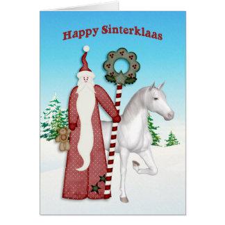 Saint Nicholas, cheval, Sinterklaas heureux Carte De Vœux