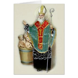 Saint Nicholas secourant Noël d'enfants Cartes De Vœux