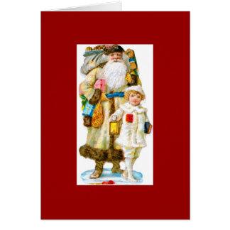 Saint-Nicolas et enfant Carte De Vœux