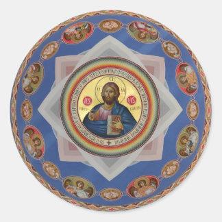 saint orthodoxe de religion d'église d'un dieu sticker rond