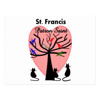 Saint patron du St Francis--Arbre et animaux Cartes Postales