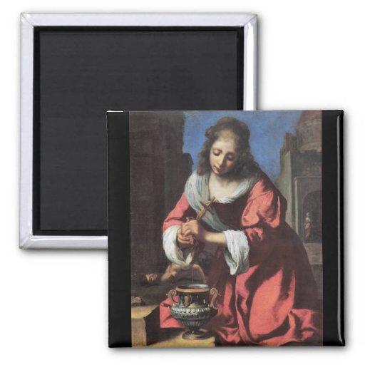 Saint Praxedis par Johannes Vermeer Aimant Pour Réfrigérateur