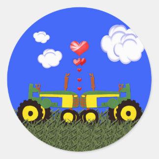 Saint-Valentin verte de tracteur Autocollant Rond