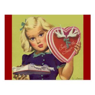 Saint-Valentin vintage ; Chocolats blonds de la fi Cartes Postales
