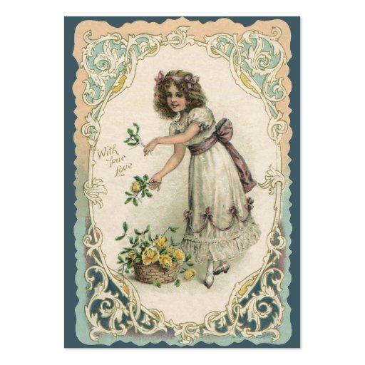 Saint-Valentin vintage, fille victorienne avec des Cartes De Visite Personnelles
