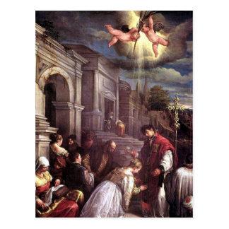 Saint Valentine baptisant la carte postale de