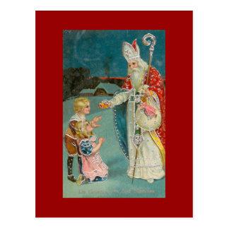 Saint vintage Nicholas de Noël Carte Postale