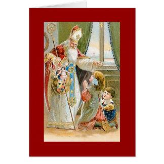 Saint vintage Nicholas de Noël Cartes De Vœux