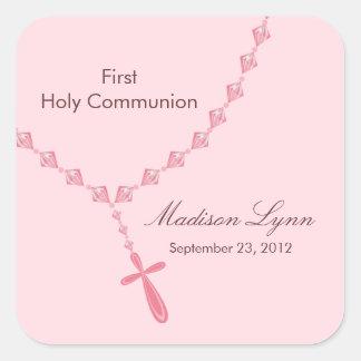 Sainte communion Brown rose de perles de chapelet Sticker Carré