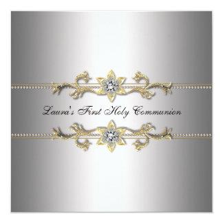 Sainte communion d'argent de filles première carton d'invitation  13,33 cm