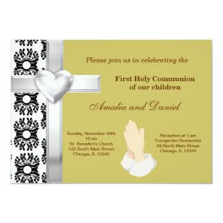 Sainte communion de damassé carton d'invitation  12,7 cm x 17,78 cm