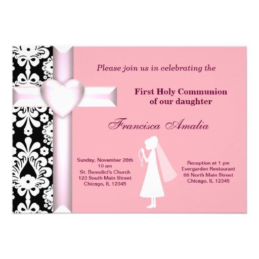 Sainte communion de damassé carton d'invitation