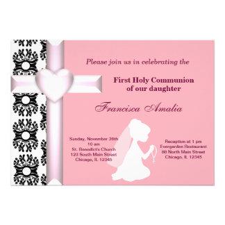 Sainte communion de damassé invitations personnalisées