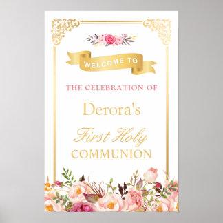Sainte communion florale du cadre vintage | d'or posters