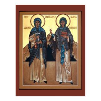 Saints Zinaida et carte de prière de Philonilla Carte Postale
