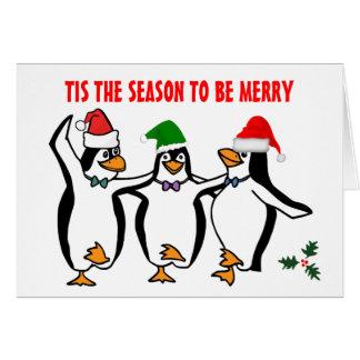 Saison de Tis de pingouins de danse de Noël à être Carte De Vœux