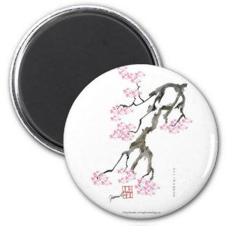 Sakura avec le poisson rouge rose, fernandes magnet rond 8 cm