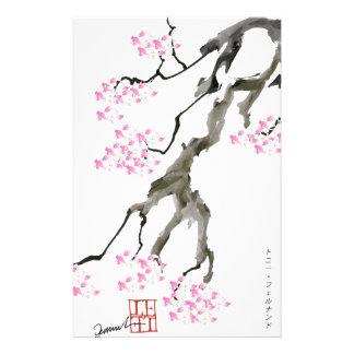 Sakura avec le poisson rouge rose, fernandes motifs pour papier à lettre