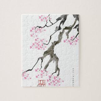 Sakura avec le poisson rouge rose, fernandes puzzle