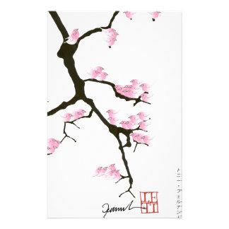Sakura avec les oiseaux roses par les fernandes papiers à lettres