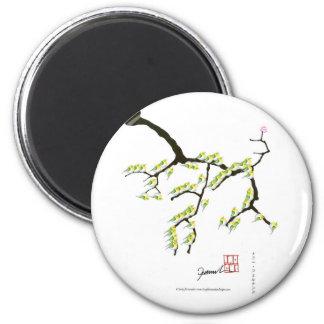 Sakura avec les oiseaux verts, fernandes élégants magnet rond 8 cm