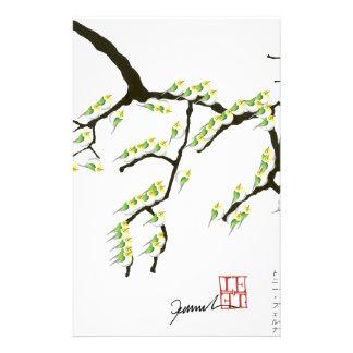 Sakura avec les oiseaux verts, fernandes élégants papier à lettre customisé