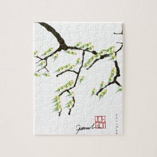 Sakura avec les oiseaux verts, fernandes élégants puzzle