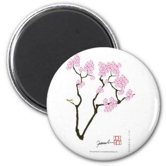 Sakura avec l'oiseau vert, fernandes élégants magnet rond 8 cm