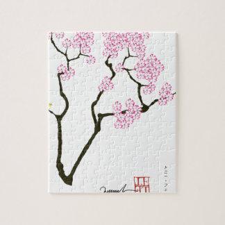 Sakura avec l'oiseau vert, fernandes élégants puzzle