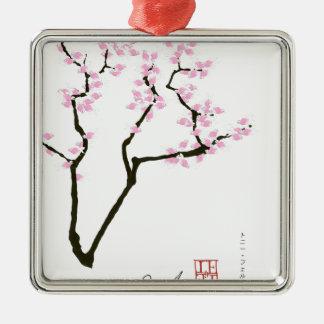 Sakura chanceux et poisson rouge rose, fernandes ornement carré argenté