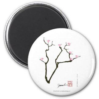 Sakura et 7 oiseaux roses 1, fernandes élégants magnet rond 8 cm