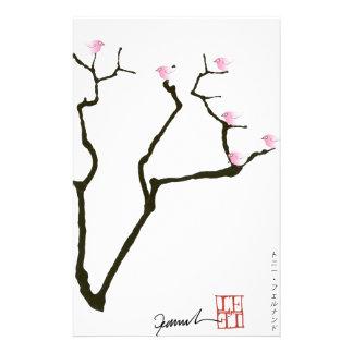 Sakura et 7 oiseaux roses 1, fernandes élégants papiers à lettres