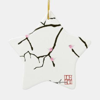 Sakura et 7 oiseaux roses 2, fernandes élégants ornement étoile en céramique