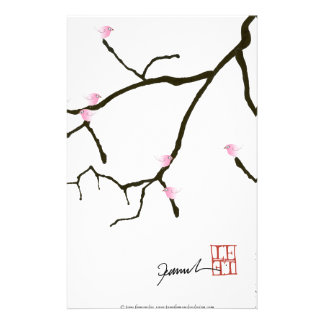 Sakura et 7 oiseaux roses 2, fernandes élégants papiers à lettres