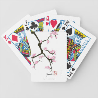 Sakura et oiseaux roses, fernandes élégants jeux de cartes