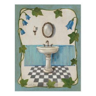 Salle de bains avec la frontière florale carte postale
