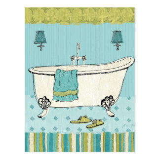 Salle de bains bleue démodée carte postale
