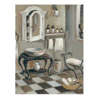 Salle de bains française carrelée noire et blanche carte postale