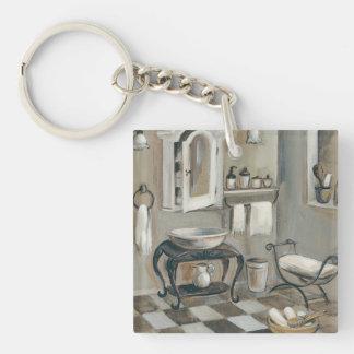 Salle de bains française carrelée noire et blanche porte-clé carré en acrylique double face