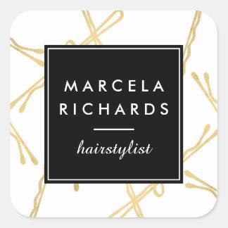Salon chic de coiffeur de pinces d'or sticker carré