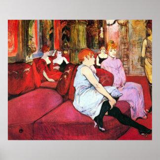 Salon dans la rue De Moulins par Toulouse-Lautrec Affiche