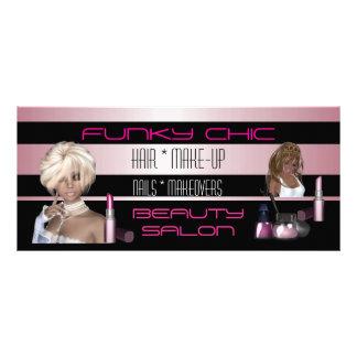 Salon de beauté de cheveux de rose de noir de carte publicitaire