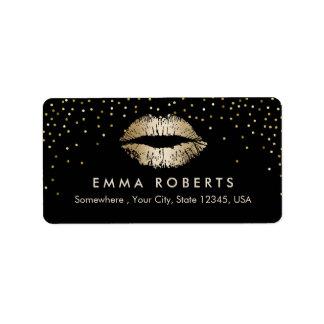 Salon de beauté de confettis de lèvres d'or de étiquette d'adresse