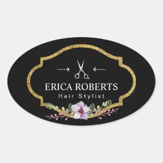 Salon de beauté élégant floral vintage de coiffeur sticker ovale